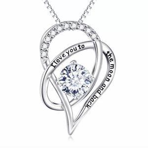 Moon & Back Swarovski Heart Necklace nwt gift